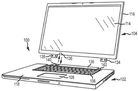 Apple Patent Vorlage für neues Hybrid-Notebook? Bild: Apple via USPTO